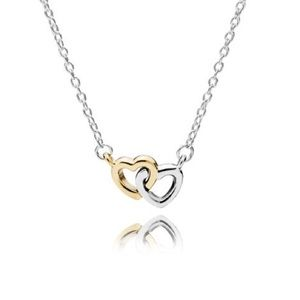 Pandora Entwined Hearts Gold/St. Silver Necklace